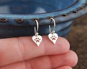 Paw print heart charm earrings in sterling silver, heart charm, cat paw, dog paw, heart charm, cat jewelry, dog jewelry, pets, mother's day