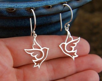 Large dove charm earrings in sterling silver, bird charm, dove earrings, sterling silver dove, bird earrings