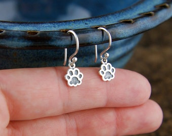 Paw print charm earrings in sterling silver, pawprint, cat paw, dog paw, heart charm, cat jewelry, dog jewelry, pets, canine, feline
