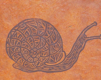 Eco Art-Linocut Triptych- Sun Snail Rose- Matted 10 x 22 inches