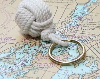 Nautical Monkey's Fist Keychain White Cotton Sailor's Gift