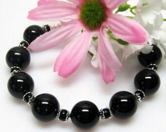 Sale Black Pearl Bracelet - Swarovski Crystal Pearl Bracelet - Black Bracelet - Plus Size - Womens Large - Size 8