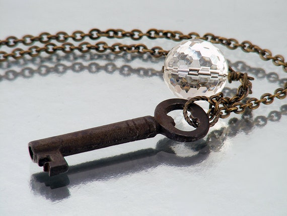 Key Necklace, Rock Crystal Orb & Vintage Key / Man Necklace / Long Chain Necklace