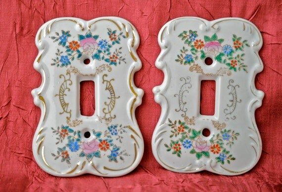 Vintage Pair Of Hand Painted Porcelain Switch By Noravintage