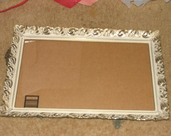 Vintage Ornate Metal Fancy Gold Lace Filigree Trim Tabletop Picture Frame