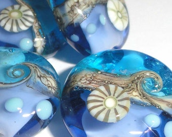 Sparkling Sea Tabs.....set of four Handmade Lampwork Glass Beads....ocean water beach sparkle summer blue aqua  BeatleBabyGlassworks