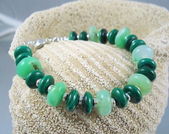 Chrysoprase Bracelet with Malachite and Sterling Silver OOAK