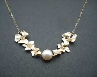 Bridesmaid Gift, Gold Bridesmaid Necklace with Double Three Fold Flowers Cascading Necklace