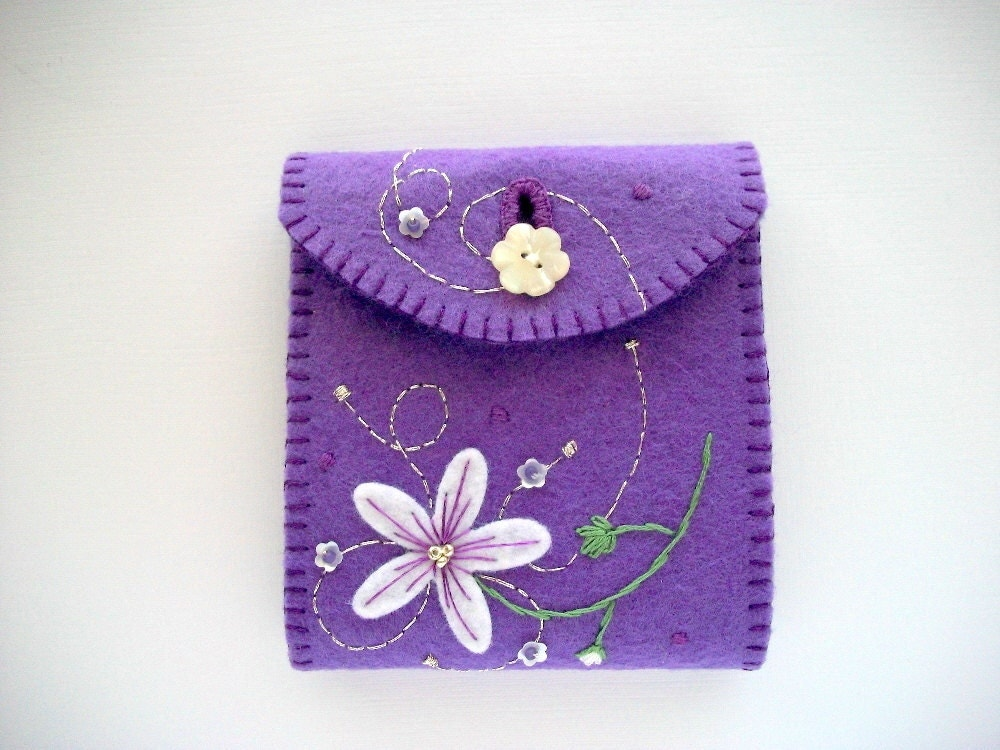 Needle book purple felt case hand embroidered handsewn