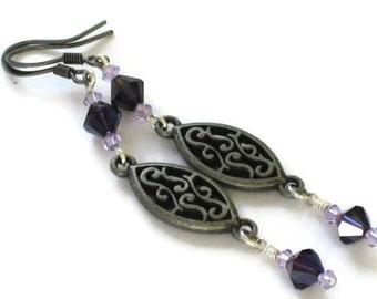 Purple Swarovski Crystal Earrings, Wedding Jewelry, Gifts for Women Mom Wife Sister Daughter Grandma Teacher Under 20, Stocking Stuffers