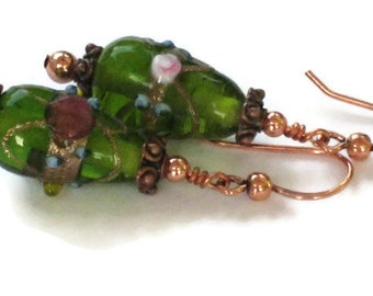 Green & Copper Earrings, Gifts for Women Mom Wife Daughter Sister Grandma Under 15, Mothers Day, Christmas Birthday Gifts, Stocking Stuffers