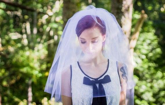 Veil with Blusher, Blusher Veil, Two Tier Veil, Elbow Veil, Church Veil, Fingertip Veil, Bridal Veil, Ivory Veil, White Veil, Wedding Veil