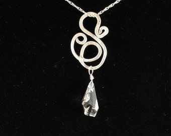 Hammered Free Form Pendant with Swarovski Crystal, Aluminum with Sterling Silver Chain