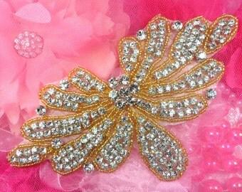 """JB89 Gold DIY Bridal Sash Crystal Rhinestone Applique  Beaded  6.5"""" JB89-glcr"""