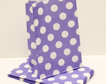 "Paper Bags, 12 Purple Polka Dot Party Favor Bags, ""STAND UP"" bags, Candy Bag, Bakery Bags,  Lunch Bag, Purple Bags, Treat Bags, Favor Bags"