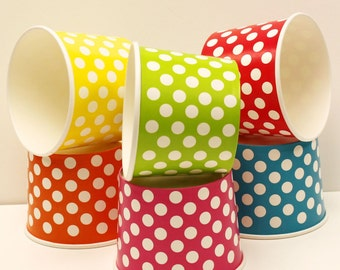Paper Ice Cream Cups.,10 Jumbo 16 oz. Polka Dot Ice Cream Cups, Party  Cups, Ice Cream Cups ,Paper Food Cups, Gelato Cups, Dessert Cups,