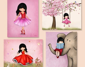 Girl nursery decor,art for girls room, wall art set, kids room decor,childrens art,wall art prints,prints illustrations,pink nursery art