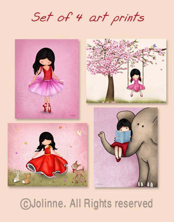 Girl nursery decor,art for girls room, wall art set, kids room decor,childrens art,wall art prints,prints illustrations,pink nursery art
