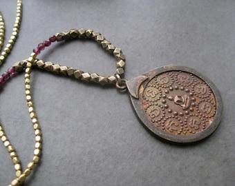 Tibetan Brass Necklace, Buddha Necklace, Mandala Pendant, Spiritual necklace, Buddhist Necklace, Yoga