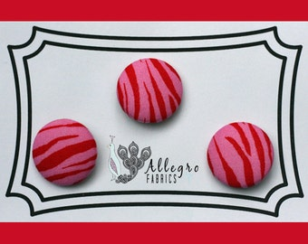 Medium Fabric Covered Buttons Button Set of 3 Novelty Red and Pink Zebra Animal Print Tippy Toes Henry Glass