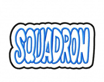 Squadron with a Shadow Embroidery Machine Applique Design 3082