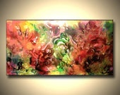 """GICLEE Print abstract painting-40""""x 21""""x1.5"""" Gallery Wrap Stretched Canvas-- Modern abstract art, huge wall art."""