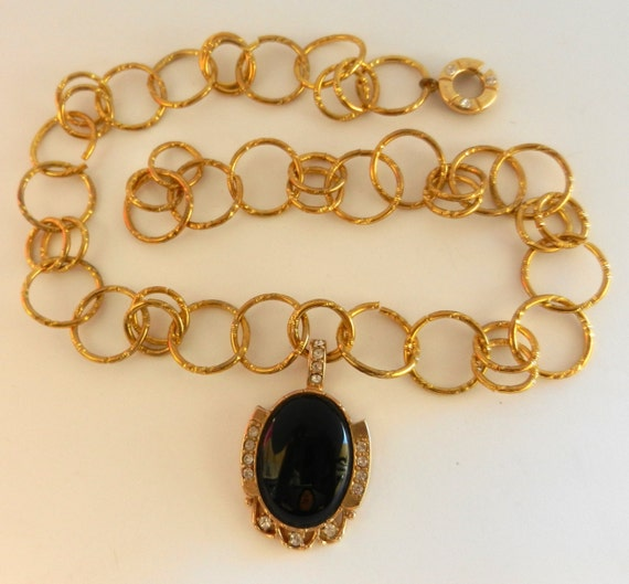 Gorgeous 1960 Locket Necklace - beautiful chain, shining pendant light -small crystals and black cabochon--Art.224 -