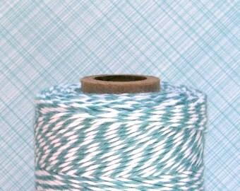 Teal Bakers Twine - Ocean Teal Blue and White Bakers Twine (240 yard spool)