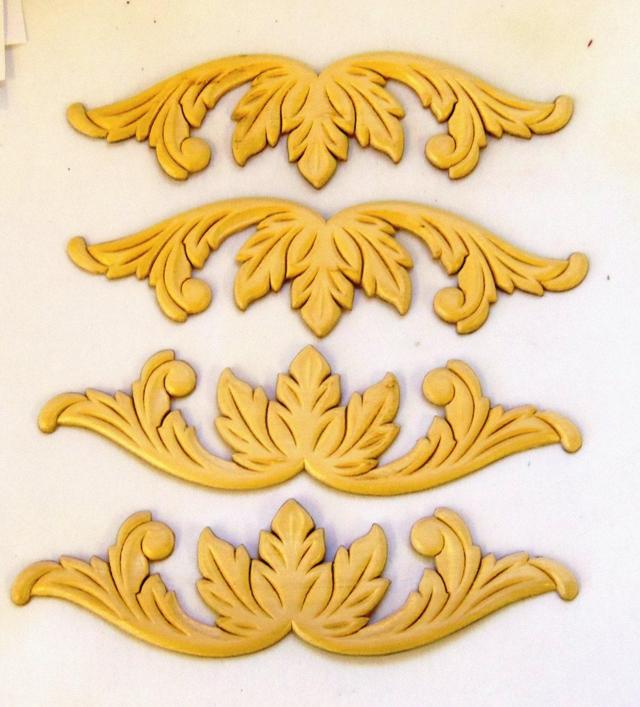 4 Onlays Furniture Appliques Wood Gingerbread Floral Pediment