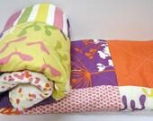 Modern Baby Girl Quilt-Baby Patchwork Crib Bedding-Piper Dear Stella Designs-Coral-Purple-Chevron Baby Blanket