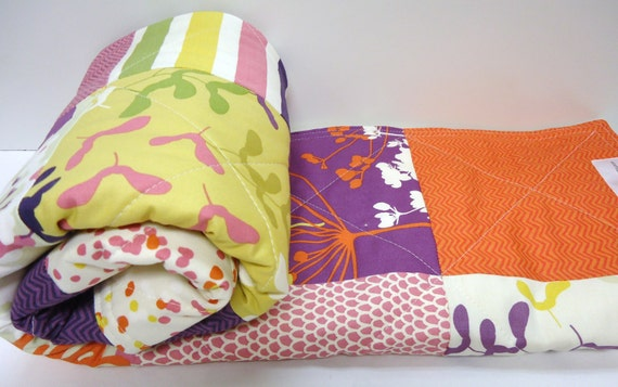 Modern baby girl quilt baby patchwork crib by nowandthenquilts - Modern baby girl crib bedding ...