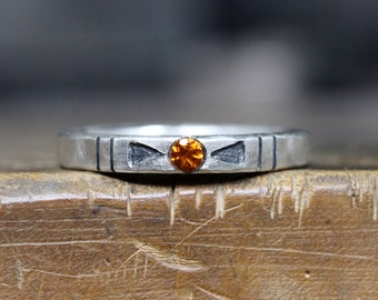 Tribal Orange Citrine Arrow Silver Ring Geometric Rustic November Birthstone Gift Idea Stackable Band Boho Arizona Design - Banded Southwest