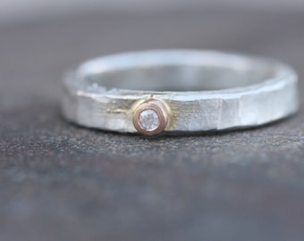Unique Men's Wedding Band Frosted Diamond 14K Rose Gold Silver Rustic Groom Father's Day Ring White Yellow Rustic Primitive - Blanched Bond