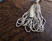 Antique Steel metal beads silver tone smooth round original hank.