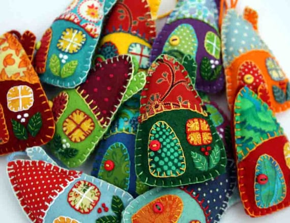 colorful felted house ornaments