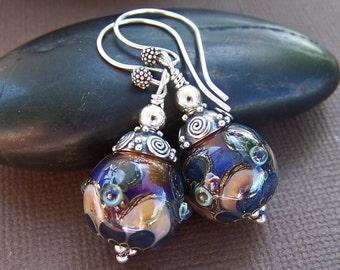 Victoria Earrings - Artisan Lampwork Glass Bead Sterling Silver Earrings