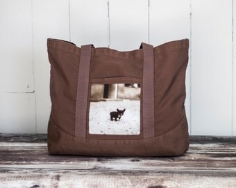 French Bulldog Tote - Vintage Photo on a LARGE Cotton Canvas Bag