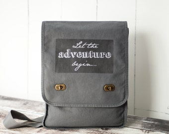 Let the adventure begin... - Messenger Bag - Field Bag - School Bag - Smoke Gray - Canvas Bag