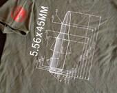 Silkscreened 5.56 x 45 Bullet Caliber Tee Shirt Gun Geeks AR15