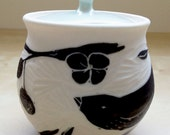Porcelain Hand Carved Sugar Bowl with Black Bird and Berries