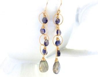 Labradorite Iolite Earrings, Gold Wire Wrapped Teardrops Blue Gemstone Hoop, Handmade Jewelry by Sonja Blume