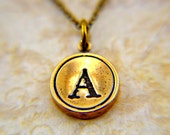 Letter A Typewriter Key Necklace Pendant Charm - Bronze - Other Letters Available