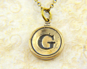 letter g necklace bronze initial typewriter key charm necklace gwen delicious jewelry design gdj