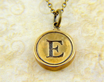 Letter E Necklace - Bronze Initial Typewriter Key Charm Necklace - Gwen Delicious Jewelry Design