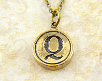 Letter Q Necklace - Bronze Initial Typewriter Key Charm Necklace - Gwen Delicious Jewelry Design GDJ