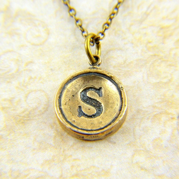 Letter S Necklace - Bronze Initial Typewriter Key Charm Necklace - Gwen Delicious Jewelry Design