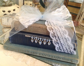Vintage Books Home Decor ~ Shabby Chic Old Books ~  Blue Embellished Books With Rhinestones and Lace Bow ~ Romantic Living ~ Vintage Decor