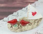 Nautical wedding decor, Love boat, Love birds wedding cake topper