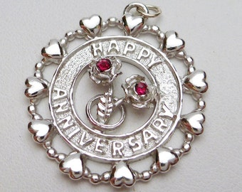 Happy Anniversary Double Rose Disc Charm Sterling Silver