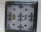 Double Toggle Light Switch Plate Decorative Cover Fleur De Lis Design Gothic Decor